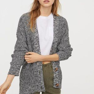 H&M black and white oversize knit cardigan sweater